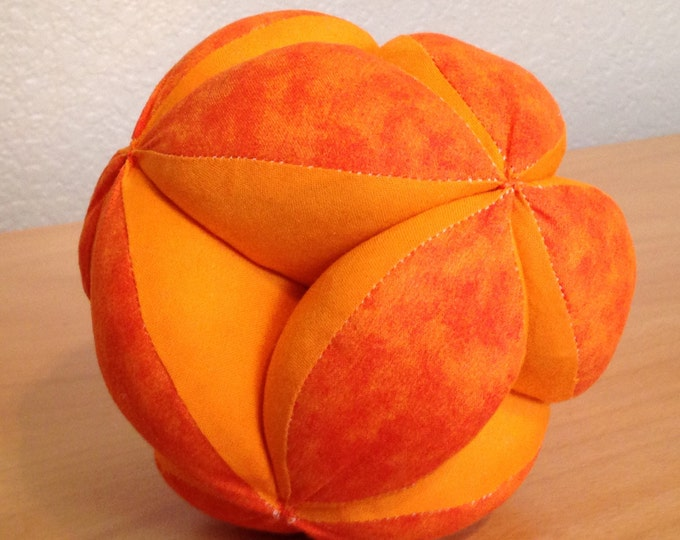 HALF PRICE ** Orange Basketball Montessori Puzzle Ball Colorful Geometric Clutch Ball. Sensory Learning Toy. Soft and Safe Play