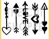 Las flechas de Cupido cortadas archivo set incluye 5 diseños de flecha, que se pueden utilizar en tus proyectos de scrapbooking y manualidades en papel.