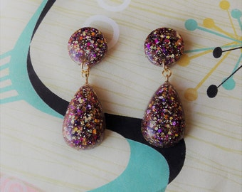 50s Confetti Lucite Inspired Earrings,Rockabilly Earrings,Mid Century Modern,Hollywood Glamour,Classic 50's Style Earrings,Pin Up Jewelry