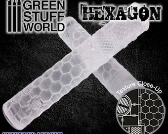 Rolling Pin - HEXAGONS Texture - Create your own bases - Warhammer