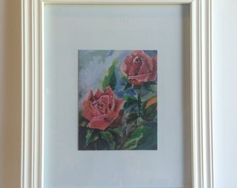 Roses Framable Art All Occasion Blank Greeting Cards with white Envelope