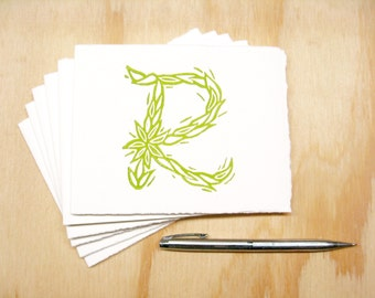 Green Letter R Stationary - Personalized - Set of 6 Block Printed Cards - READY TO SHIP