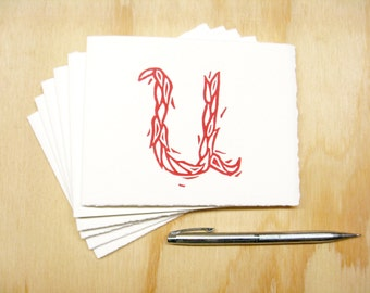 Letter U Stationery - READY TO SHIP - Personalized Gift - Set of 6 Block Printed Cards