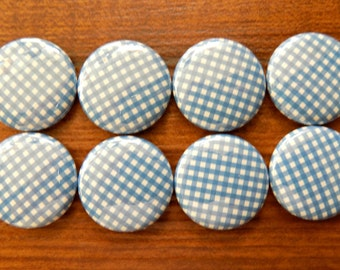 """Set of Eight (8) Fridge Magnets Blue and White Gingham Check Designs 1"""" Round"""
