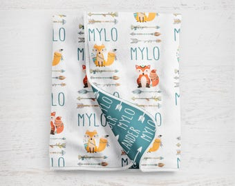 """The """"Mylo Fox"""" Personalized Baby Name Blanket Woodland Fox and Tribal Arrows"""