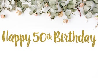 HAPPY 50TH BIRTHDAY (S7) - birthday banner / fifty / 50th / fiftieth party / photobooth / backdrop / decor