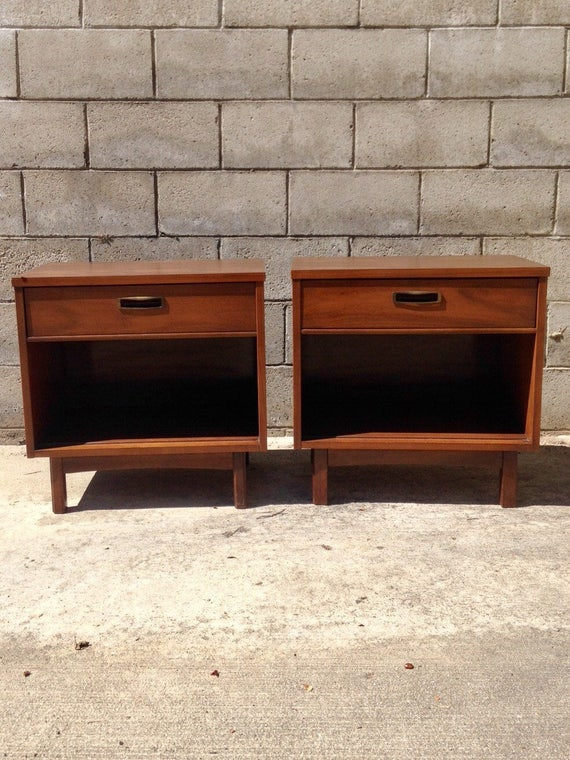 Mid Century Modern Nightstands, Danish Modern Bedside Tables, MCM Night Stands, Minimalist End Tables, Dark Walnut Side Tables, Small Chests