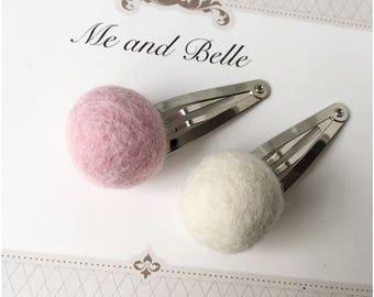 Pom pom hair clip, felt clip, baby hair clip, hair accessories, felt hair clip, baby accessories, baby gift, photo prop, baby hair