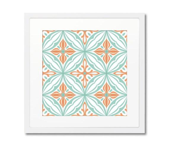 Tile Design Print, With Frame, Framed Prints, Modernist Tile, Barcelona Tiles, Geometric Art, Wall Decoration, Wall Art
