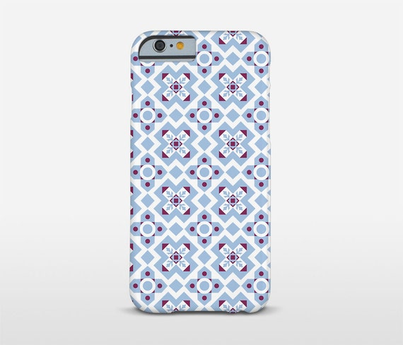 Blue Pattern Phone Case, Modernist Tile Art, Graphic Pattern, Barcelona Style, iPhone Cases, Galaxy Case, Lumia Cases, Sony Case and more