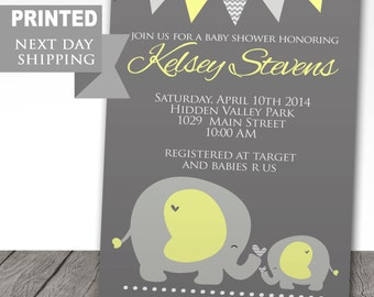 PRINTED baby shower invitations, elephant, baby announcement, FREE shipping, baby shower party, yellow, FAST shipping, envelopes included