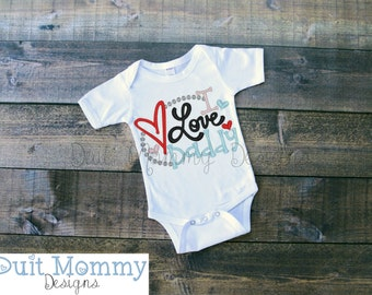 I Love Daddy   Embroidered   Onesie Shirt or Dress   T Shirt   Valentine's Day   Baby   Toddler