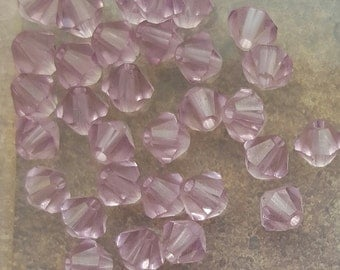 Swarovski 4mm Bicone Faceted Crystal Beads - LIGHT AMETHYST x 20 Beads