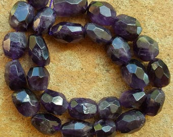 "Natural Amethyst Faceted Nugget Beads, 15~18mm x 12~14mm - 15"" Strand"