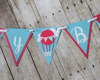 Hot Air Balloon Birthday Banner • Hot Air Balloon Decoration • Up Up and Away • Oh the Places You'll Go Theme •Hot Air Balloon Party Package