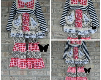 Red Outfit, Ruffle Pants, Girls Outfit, Toddler Outfit, 18M, 24M, 2T,  5, 6, 9, 10, 12, Matilda Jane, RTS, Fall, Boutique Set, Christmas