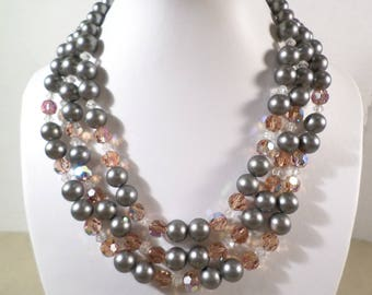Beautiful Vintage Gold Tone Triple Strand Acrylic And Crystal Beaded Choker Necklace  DL#2057