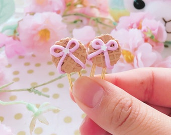 Sweet Kawaii Waffle Bow Treats -  Handmade Polymer Clay Charm / Planner Clips / Planner Topper