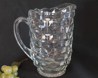 Vintage Indiana Clear Glass Large Water Pitcher - American Whitehall Pattern, Cubist