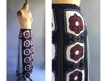 1970's Japanese Block Print Maxi Dress
