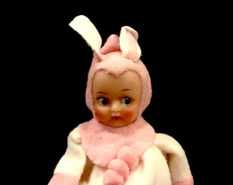 Vintage Pixie Bunny Rabbit Toy, Purse, Girl Pixie Purse, Zipper, Kitsch 5 inch Bunny Doll, National Potteries, Copyright 1960