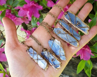 Gold dipped kyanite necklace, kyanite necklace, gold kyanite necklace, blue kyanite  necklace, electroformed