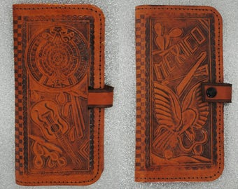 Vintage 60's Tooled Leather Wallet - 1960's Hand Tooled Mexican Leather Wallet