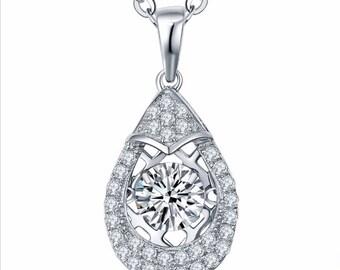 2.50 Carats Dancing Diamond Pendant with Chain