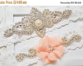 ON SALE Peach Wedding Garter, Crystal Bridal Garter Set, Vintage Inspired Wedding Stretch Lace Garter, Rustic Garter,Bridal Garter, Garter