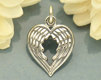 Sterling Silver Angel Wing Heart Shaped Charm