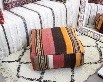 KILIM VINTAGE marroquí PUF rellenada o cubierta sólo hecha a mano tejida a mano (60 cm x 60 cm x 25 cm) (VKP103)