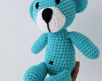 Crochet teddy bear. Amigurumi teddy toy. Stuffed teddy bear. Plush teddy bear.