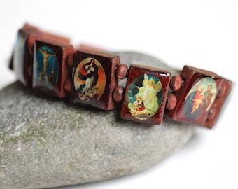 Holy saints bangle, Madonna, virgin Mary bangle, vintage confirmation jewelry