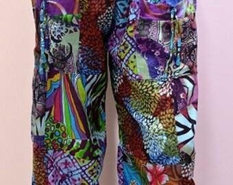 Plus Size Hippie Boho Retro Floral Patchwork Harem Pant Trouser Blue 18 20