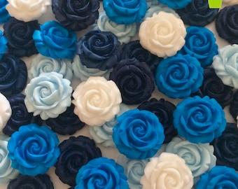 12 BLUE & WHITE ROSES edible sugar paste flowers wedding cake cupcake decorations