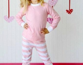 Kids Cool Weather Pajamas in Pink/White Stripe