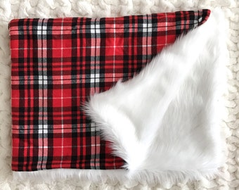 Red Plaid Winter Toddler Minky Blanket - Gender Neutral - Christmas Gift