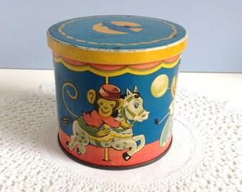 Vintage Blue Bird Toffee Tin Toys on a Merry-go-round 1940's Rare