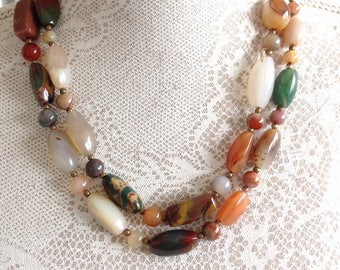 Polished Agate Long Necklace Semi Precious Stones Ambers Greens White and Browns Scottish
