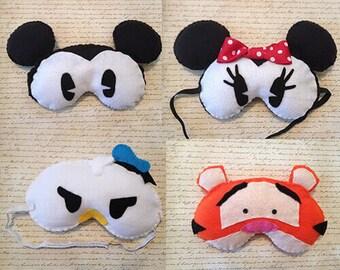 Disney Inspired Animal Handmade Fleece Sleep Masks with Adjustable Strap