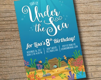 PRINTABLE Under the Sea Birthday Invitation, Under the Sea Invitation, Fish, Turtle, Crab, Coral, Tropical Ocean Birthday Invitation