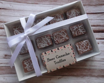 12 Beer Ganache Milk Chocolate Truffles - Personalised Gift Box for Valentines/Birthday/Gift