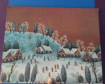 Polish Naive Art Print by Blasnavski. Folk Art. Mounted Print. Village Snow Scene. Winter Scene.