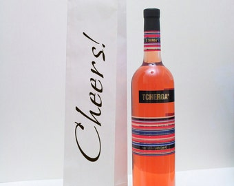 100 Cheers Wine Bottle Gift Bags - Wedding Favor Bags - Personalized Wine Gift Bags - SMALL White Printed Paper Bags