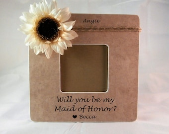 Will you be my Maid of Honor proposal picture frame