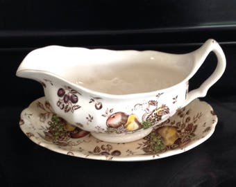 Autumn Delights Gravy Boat and Under Plate by Johnson Bros