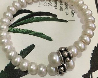 SB8 Honora Cultured White Freshwater Pearl Sterling Coil Bypass Bracelet - Women's