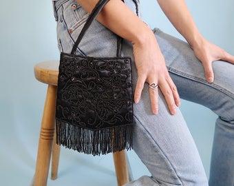 Black Beaded Evening Bag with Fringe Detail!