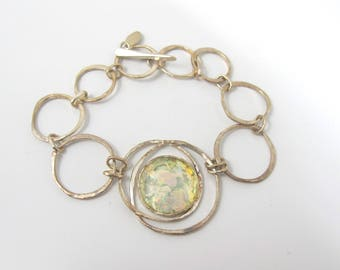 Sterling Silver Roman Glass Bracelet, Luli Hamersztein Modernist Circle Links Multi Color Rainbow Glass, Toggle Closure  8 Inches