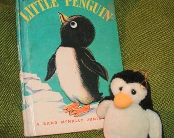LITTLE PENGUIN...Kids Storybook PLUS Little Mohair Stuffed Plush Penguin Toy ~ Read and Play Fun!